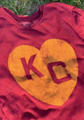 Kansas City Monarchs Original Retro Brand Heart Kansas City Fashion T Shirt - Red