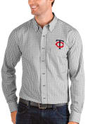 Minnesota Twins Antigua Structure Dress Shirt - Grey