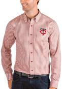 Minnesota Twins Antigua Structure Dress Shirt - Red