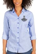 Tampa Bay Lightning Womens Antigua 2021 Stanley Cup Champions Structure Dress Shirt - Blue