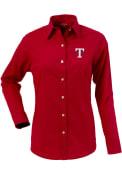 Texas Rangers Womens Antigua Dynasty Dress Shirt - Red