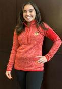 Chicago Blackhawks Womens Antigua Fortune 1/4 Zip Pullover - Red