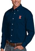 Illinois Fighting Illini Antigua Dynasty Dress Shirt - Navy Blue