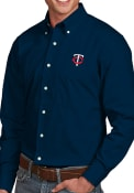 Minnesota Twins Antigua Dynasty Dress Shirt - Navy Blue