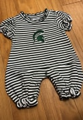 Michigan State Spartans Baby Green Stripe Puff Sleeve One Piece