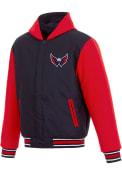 Washington Capitals Reversible Hooded Heavyweight Jacket - Navy Blue
