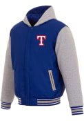 Texas Rangers Reversible Hooded Heavyweight Jacket - Blue