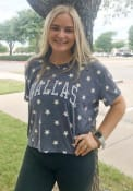 Alternative Apparel Dallas Women's Navy Arched Wordmark Cropped Short Sleeve T-Shirt