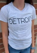 Alternative Apparel Detroit Women's Oatmeal Classic Stripe Disconnected Short Sleeve T-Shirt