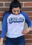 Detroit White Stacked Script Raglan ¾ Sleeve T Shirt