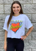 Cleveland Women's 90s Themed Cropped Short Sleeve T-Shirt - White