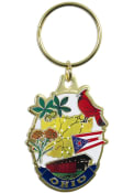 Ohio Colorfilled Oval Keychain