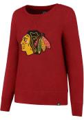 47 Chicago Blackhawks Womens Sparkle Headline Red Crew Sweatshirt
