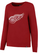 47 Detroit Red Wings Womens Sparkle Headline Red Crew Sweatshirt