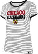 47 Chicago Blackhawks Womens Striped Ringer White T-Shirt