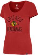 47 Chicago Blackhawks Womens MVP Splitter Red Scoop T-Shirt