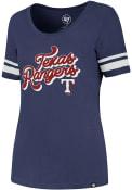 47 Texas Rangers Womens Halfback Blue Scoop T-Shirt