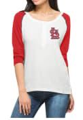 47 St Louis Cardinals Womens Glitz Henley Scoop Neck Tee