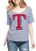 47 Texas Rangers Womens Blue Coed Stripe Scoop