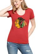 47 Chicago Blackhawks Womens Knockaround Club Red Scoop T-Shirt