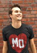 Original Retro Brand Missouri Black Heart Initials Short Sleeve T Shirt