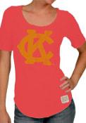 Original Retro Brand Kansas City Monarchs Womens Primary Logo Red Scoop T-Shirt