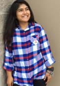 Texas Rangers Womens Headway Plaid Sleep Shirt - Blue