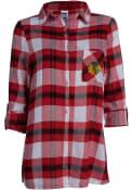 Chicago Blackhawks Womens Headway Plaid Sleep Shirt - Red