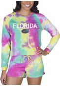 Florida Gators Womens Tie Dye Long Sleeve PJ Set - Yellow