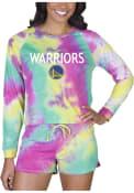 Golden State Warriors Womens Tie Dye Long Sleeve PJ Set - Yellow