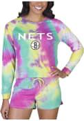 Brooklyn Nets Womens Tie Dye Long Sleeve PJ Set - Yellow