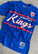 Mitchell and Ness Kansas City Kings Blue Coaches Script Fashion Tee