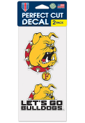 Ferris State Bulldogs 4x4 Set of 2 Auto Decal - Red