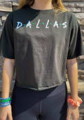 Dallas Women's Dots Wordmark Reactive Black Cropped Short Sleeve T-Shirt