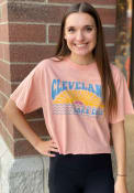 Cleveland Women's Dusty Rose Lake Erie Sun Cropped Short Sleeve T-Shirt