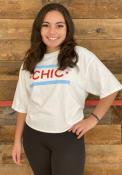 Chicago Women's Chic Flag White Cropped Short Sleeve T-Shirt