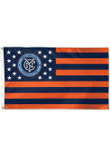 New York City FC 3x5 Stars Stripes Orange Silk Screen Grommet Flag