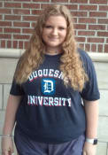 Duquesne Dukes Rally Triblend Number One Vintage Distressed Fashion T Shirt - Navy Blue