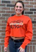 Cincinnati Women's Orange Tiger Stripes Cropped Long Sleeve Crew