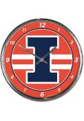 Illinois Fighting Illini Chrome Wall Clock