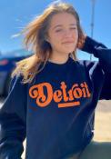 Detroit Womens Coopeer Hippie Font Crew Sweatshirt - Navy Blue