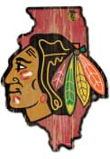 Chicago Blackhawks state shape Sign
