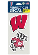Wisconsin Badgers 2 Pack Perfect Cut Auto Decal - Red