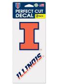 Illinois Fighting Illini 2 Pack Perfect Cut Auto Decal - Orange