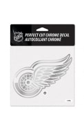 Detroit Red Wings 6x6 Chrome Auto Decal - Silver