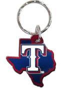 Texas Rangers Metallic State Shape Keychain