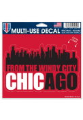 Chicago 5x6 inch Skyline Auto Decal - Red