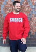 Chicago Wordmark Flag Crew Sweatshirt - Red