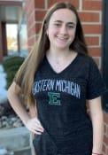 Eastern Michigan Eagles Womens Confetti V-Neck T-Shirt - Black