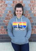 Chicago Grey Skyline Long Sleeve Fleece Hood Sweatshirt